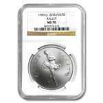 1989 1 oz Russian Palladium Ballerina (MS-70 NGC)