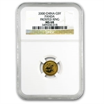 2000 (1/20 oz) Gold Chinese Pandas - (Frosted) MS-68 NGC