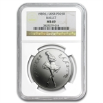 1989 1 oz Russian Palladium Ballerina (MS-69 NGC)