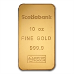 10 oz Scotiabank Gold Bar .9999 Fine