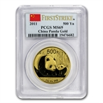 2011 1 oz Gold Chinese Panda MS-69 PCGS (First Strike)
