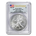 2011-W 1 oz Silver Eagle MS-70 PCGS 25th Anniv (FS) Blue Label