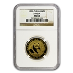 1988 (1/2 oz) Gold Chinese Pandas - MS-68 NGC