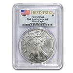 2011 Silver Eagle 25th Anniversary Set MS-69 PCGS (FS) Blue Label