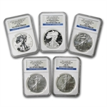 2011 Silver Eagle Set - MS/PF-70 NGC - 5 Coins - 25th Anniv/ER