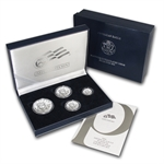 2008-W 4-Coin Burnished Platinum Eagle Set (w/box & CoA)