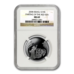 2008 Israel Parting of the Sea Silver 1 NIS MS-69 NGC