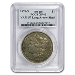 1878-S Morgan Dollar - XF-40 PCGS VAM-57 Long Nock Rev Top-100