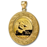 2014 1/10 oz Gold Panda Pendant (Greek Key-Prong Bezel)