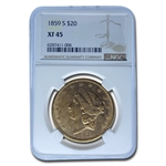 1859-S $20 Gold Liberty Double Eagle - XF-45 NGC