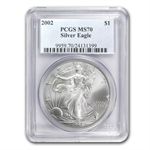 2002 Silver American Eagle - MS-70 PCGS - Registry Set Coin