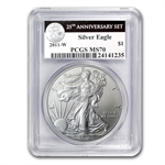 2011-W (Burnished) Silver Eagle MS-70 PCGS 25th Anniv (Blk L)