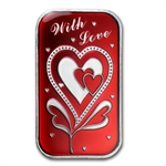 1 oz With Love Enameled Silver Bar (w/Gift Box & Capsule)