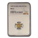 1849 $1 Liberty Gold - Small Head - Closed Wreath - MS-61 NGC