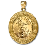 2013 1/10 oz Gold Eagle Pendant (Greek Key-Prong Bezel)