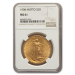 1908 $20 St. Gaudens Gold - With Motto - MS-61 NGC
