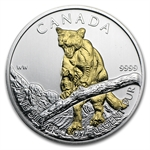 2012 1 oz Silver Canadian Wildlife Series - Cougar - Gilded