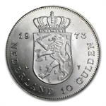 Netherlands 1973 Silver 10 Gulden Juliana AU/BU .5787 ASW
