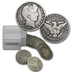 $10 Barber Halves - 90% Silver 20-Coin Roll (Very Good +)