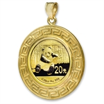 2014 1/20 oz Gold Panda Pendant (Greek Key-Prong Bezel)