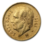 Mexico 1910 5 Pesos Gold Coin (AU/BU)