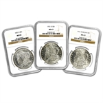 1921 Morgan Dollar P-D-S 3 Coin Set - MS-63 NGC