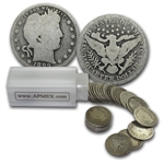$10 Pre-1901 Barber Quarters - 90% Silver 40-Coin Roll (Avg Circ)