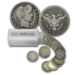 $10 Barber Quarters - 90% Silver 40-Coin Roll (Very Good +)