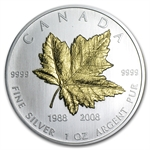 2008 1 oz Gilded Silver Canadian Maple Leaf - 20th Anniversary