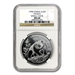 1990 1 oz Silver Chinese Panda - MS-68 NGC -Small Date