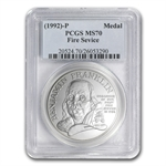1992 Ben Franklin Firefighters Silver Medal Comm. 1 oz MS-70 PCGS
