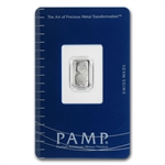 1 gram Pamp Suisse Platinum Bar (In Assay) .9995 Fine