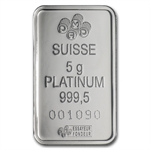 5 gram Pamp Suisse Platinum Bar (in Assay) .999+ Fine (May 2nd)