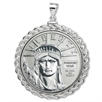 1/2 oz Platinum Eagle White Gold Pendant (Rope-ScrewTop Bezel)