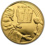 2007 Israel Abraham & the Angels Biblical Art Smallest Gold Coin