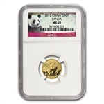 2012 (1/10 oz) Gold Chinese Panda - MS-69 NGC