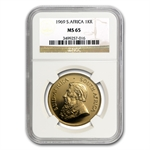 1969 1 oz Gold South African Krugerrand NGC MS65