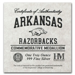 1 oz University of Arkansas Silver Round .999 Fine
