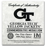 1 oz Georgia Tech Silver Round .999 Fine (w/Box & Cap)