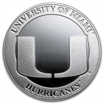 1 oz University of Miami Silver Round .999 Fine