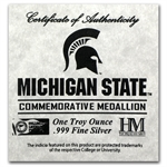 1 oz Michigan State University Silver Round .999 Fine