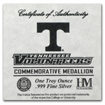 1 oz University of Tennessee Silver Round .999 Fine