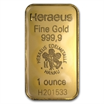 1 oz Heraeus Gold Bar New .9999 Fine
