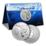 2012 1/4 oz Silver Canadian $20 Polar Bear Coin in COA Card