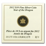 2012 1/2 oz Silver Canadian $10 - Year of the Dragon (W/ COA)