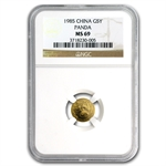 1985 (1/20 oz) Gold Chinese Pandas - MS-69 NGC
