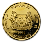 Singapore 1/2 Oz .9999 Gold Lion Coins Proof