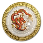 2012 1/2 oz Silver Year of the Dragon Colorized Coin(W/box & CoA)