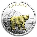 2011 1 oz Silver Canadian Wildlife Series - Grizzly - Gilded