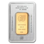 1 oz Holy Land Mint Dove of Peace Gold Bar (In Assay) New Bars!